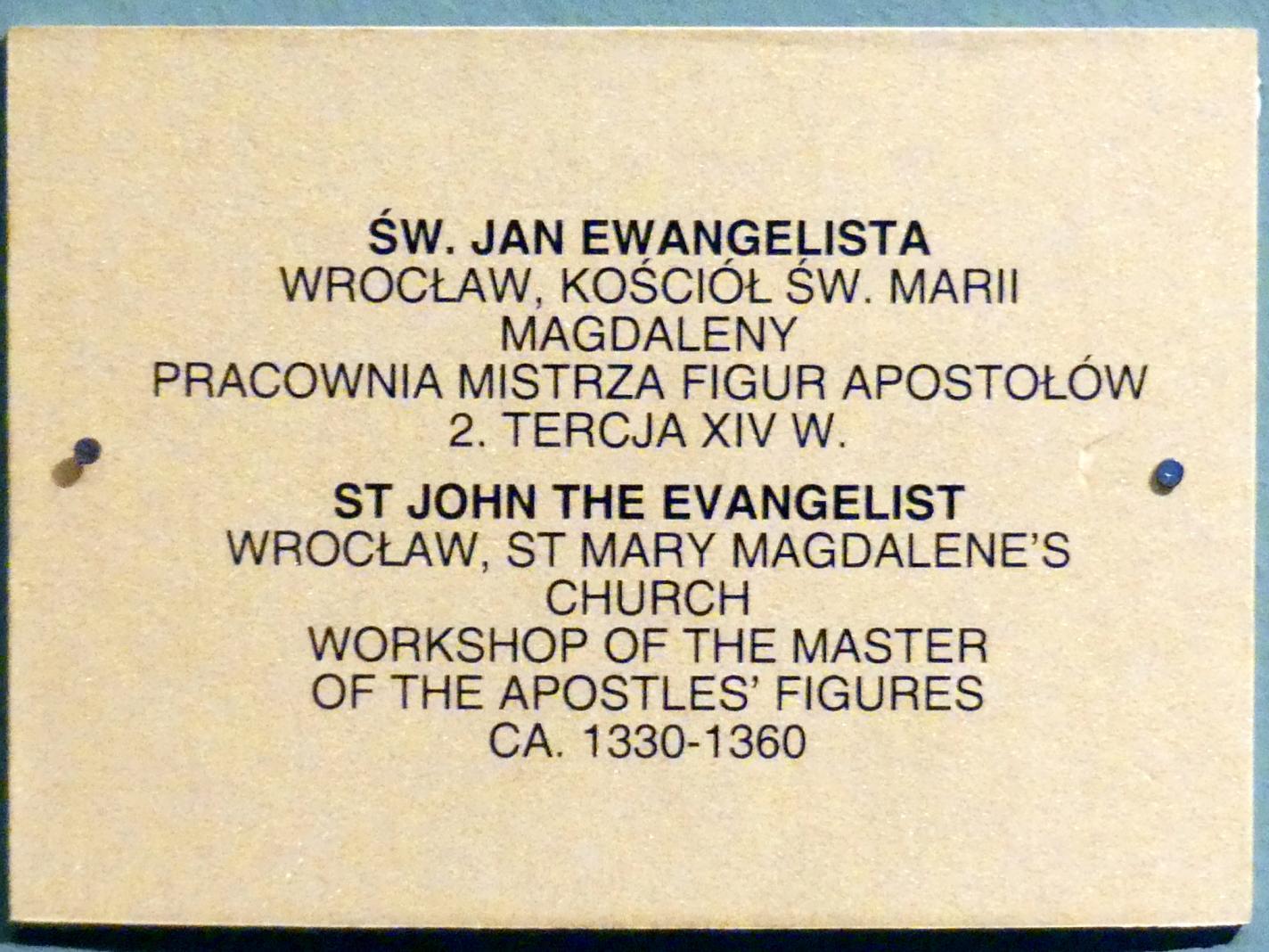 Meister der Apostelfiguren (Breslau) (Werkstatt): Evangelist Johannes, 2. Drittel 14. Jhd., Bild 3/3