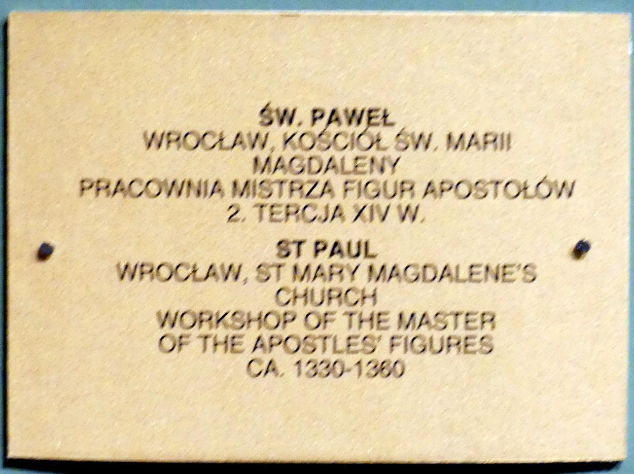 Meister der Apostelfiguren (Breslau) (Werkstatt): Apostel Paulus, 2. Drittel 14. Jhd., Bild 3/3