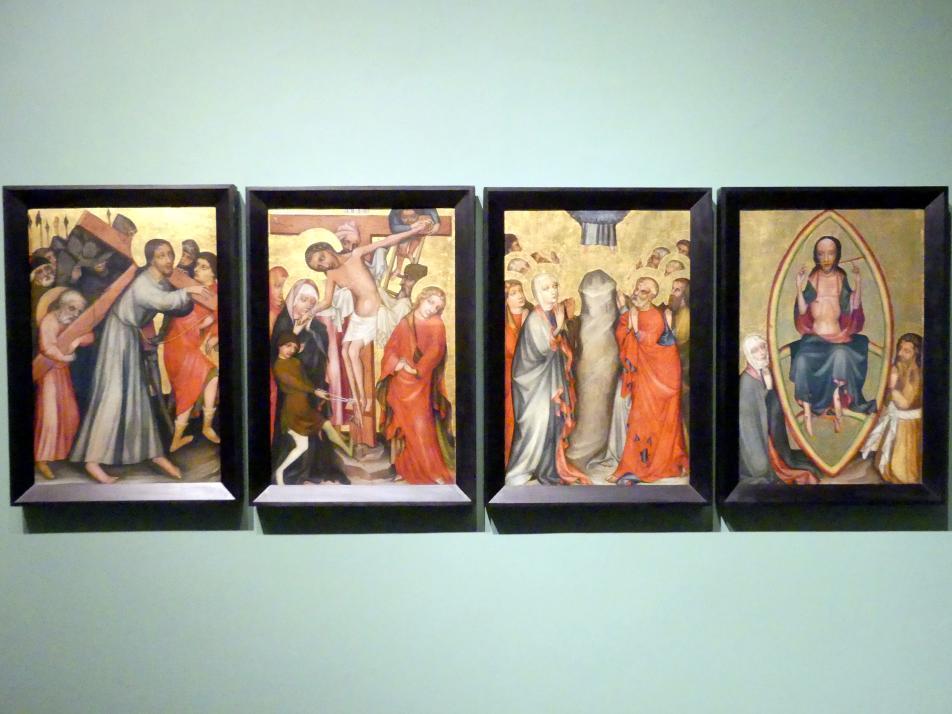 Kreuztragung, Kreuzabnahme, Christi Himmelfahrt, Deesis, um 1420
