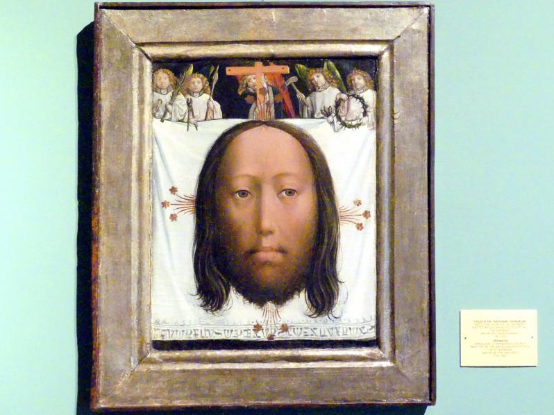 Wilhelm Kalteysen (Wilhelm von Aachen, Meister des St. Barbara-Polyptychons): Schleier von Manoppello, Schweißtuch der Veronika, um 1450