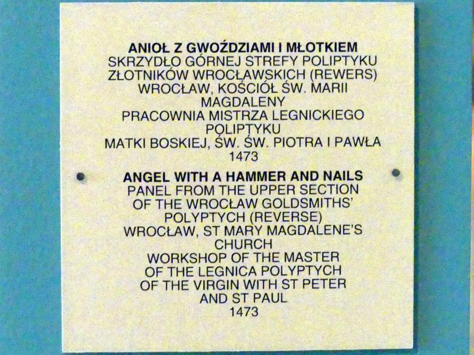 Meister des Liegnitzer Polyptychons der Jungfrau Maria und der hll. Peter und Paul (Werkstatt): Engel mit Hammer und Nägeln, 1473, Bild 2/2