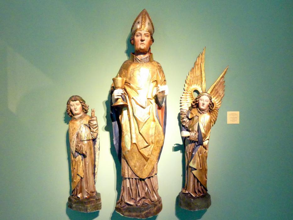 Meister des Liegnitzer Polyptychons der Jungfrau Maria und der hll. Peter und Paul (Werkstatt): Heiliger Eligius und Engel, 1473, Bild 1/2