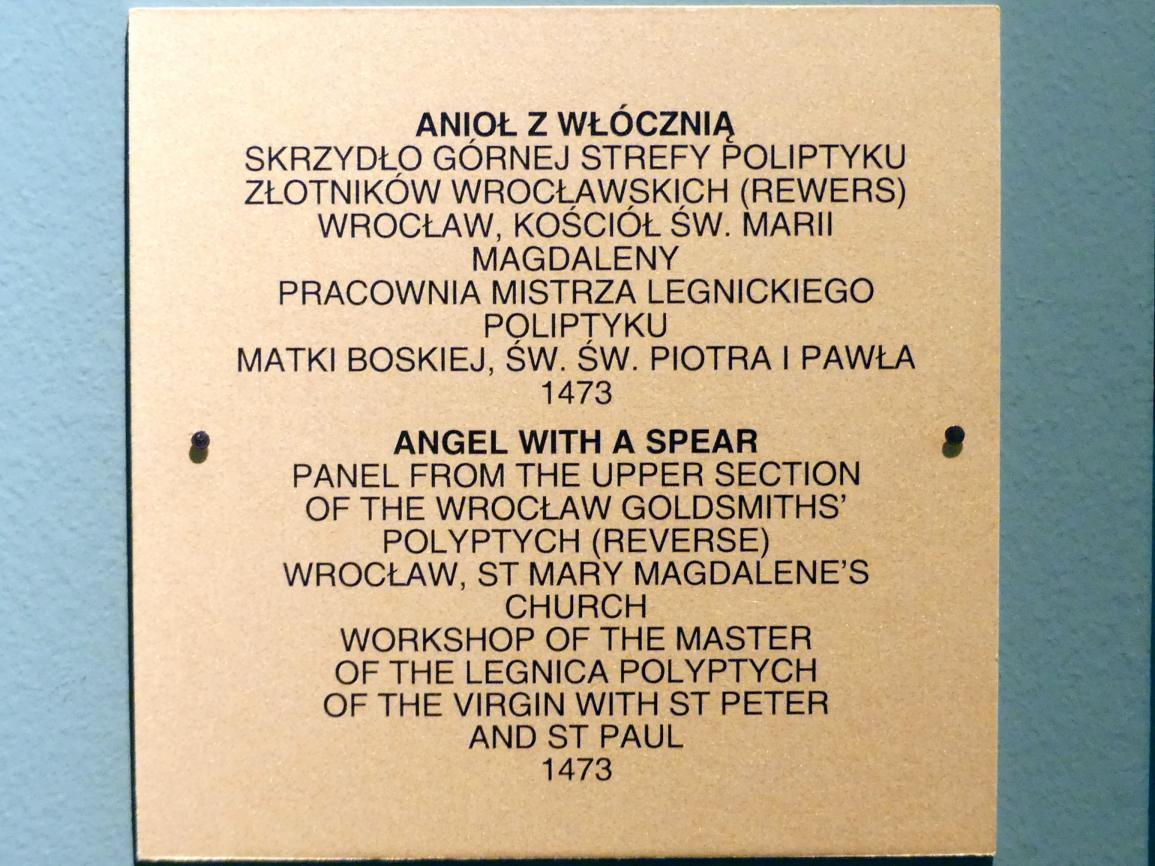 Meister des Liegnitzer Polyptychons der Jungfrau Maria und der hll. Peter und Paul (Werkstatt): Engel mit Speer, 1473, Bild 2/2