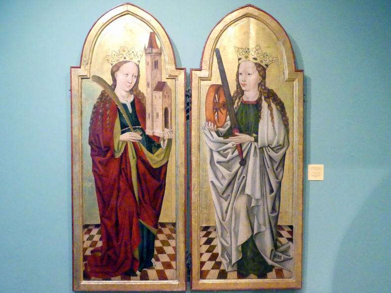 Meister des Liegnitzer Polyptychons der Jungfrau Maria und der hll. Peter und Paul (Werkstatt): Heilige Barbara, Heilige Katharina, 1473