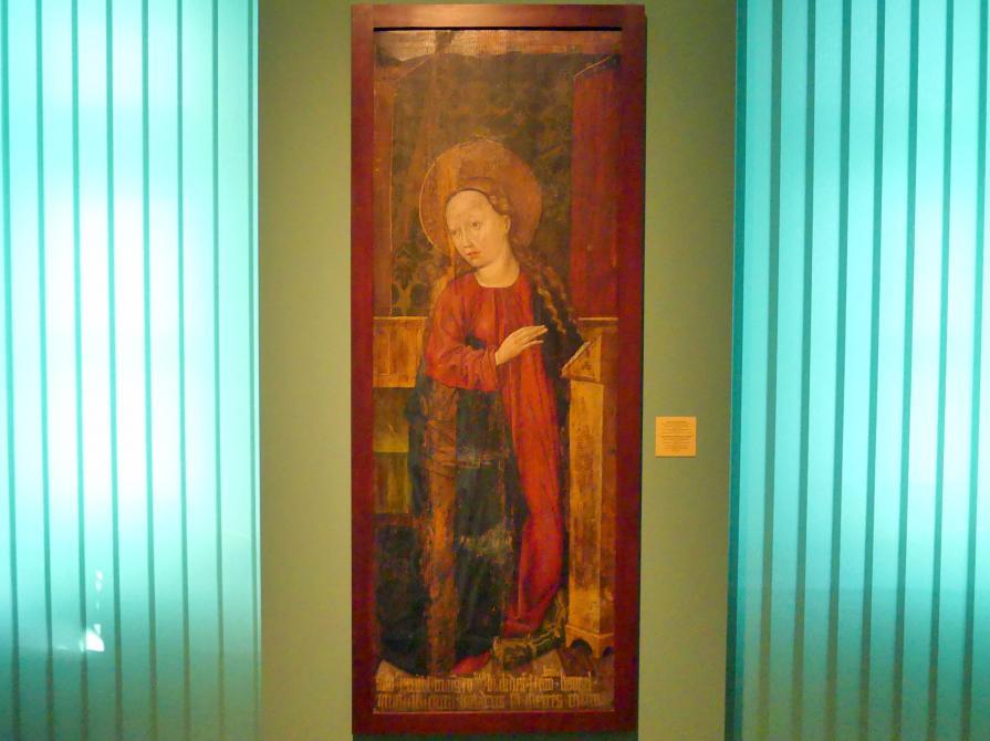 Meister des Liegnitzer Polyptychons der Jungfrau Maria und der hll. Peter und Paul (Werkstatt): Jungfrau Maria einer Verkündigungsgruppe, 1473