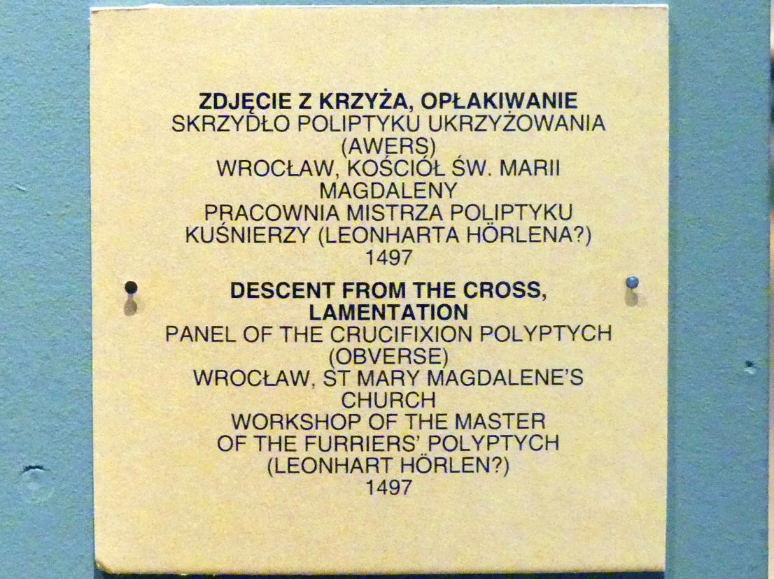 Kreuzabnahme, Beweinung Christi, 1497