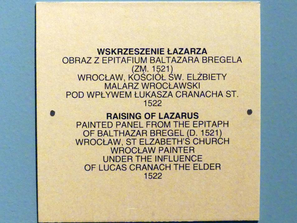 Auferweckung des Lazarus, 1522