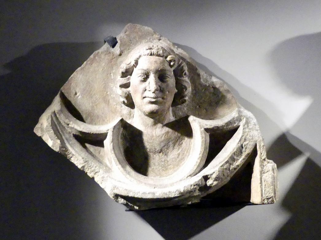 Kopf eines jungen Mannes auf Maßwerk, um 1360