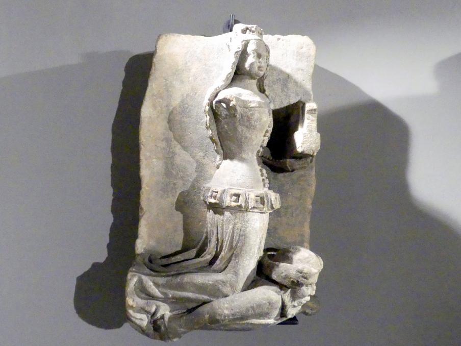 Kniende weibliche Figur (Heilige Barbara?), Um 1380
