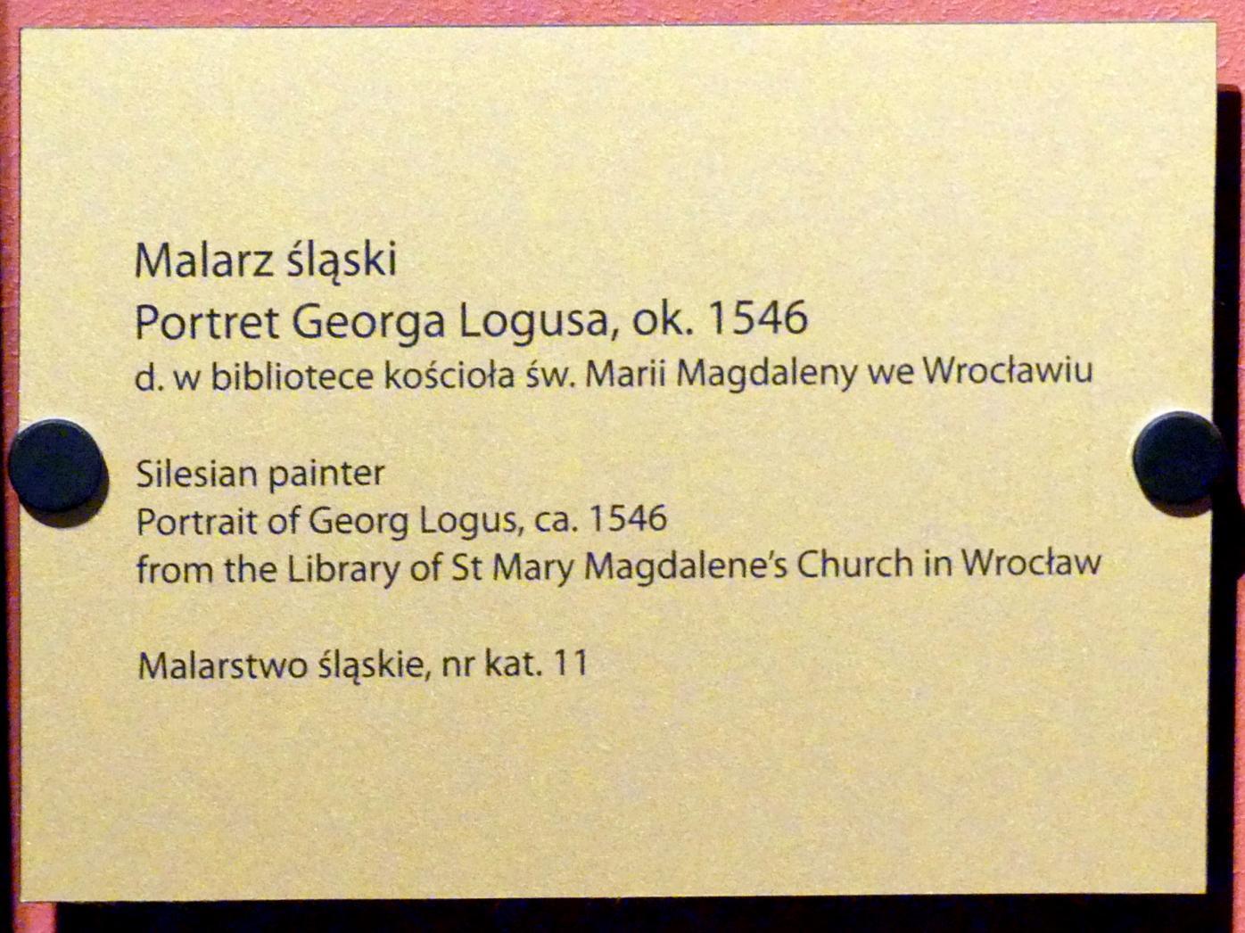 Porträt des Georg Logus, um 1546, Bild 2/2