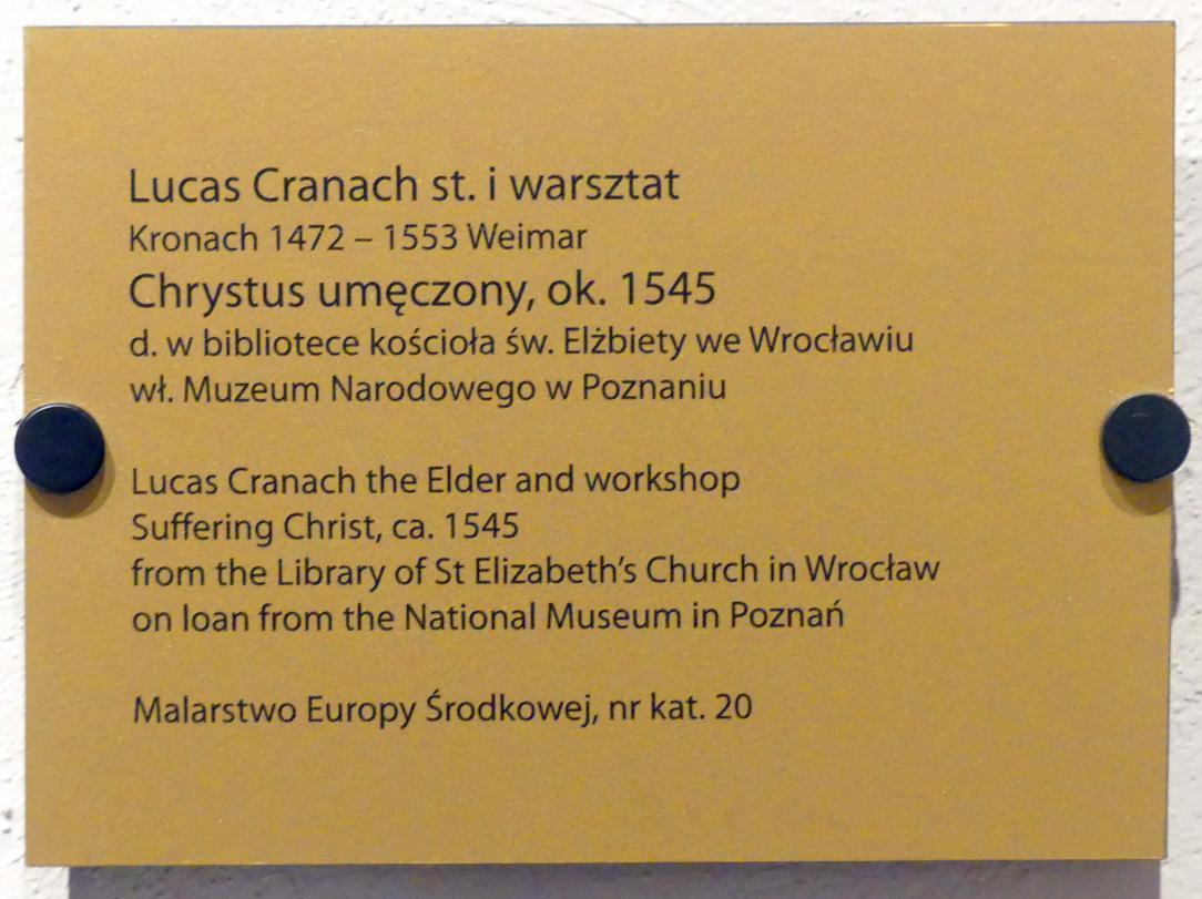 Lucas Cranach der Ältere: Christus als Schmerzensmann, um 1545, Bild 2/2
