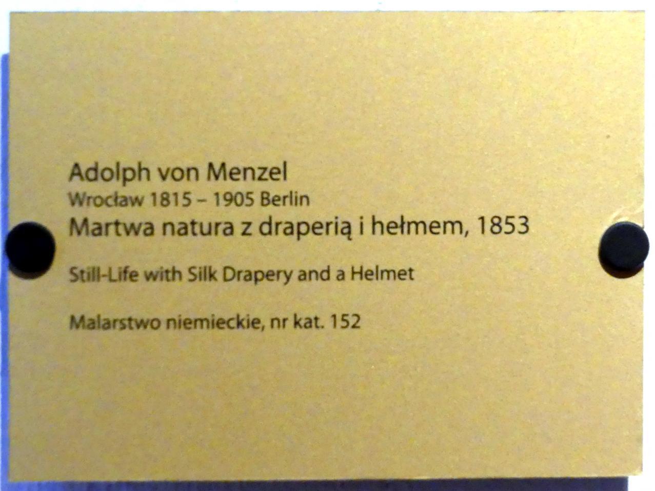 Adolph von Menzel: Stillleben mit Seidentuch und Helm, 1853, Bild 2/2