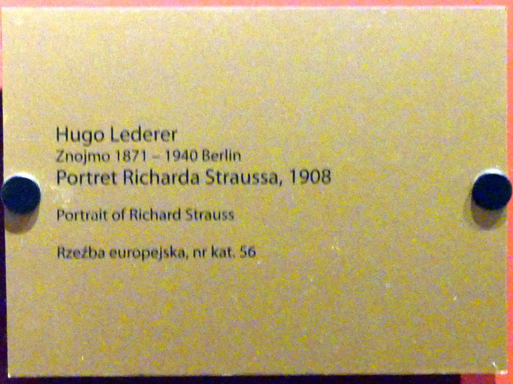 Hugo Lederer: Porträt des Richard Strauss (1864-1949), deutscher Komponist, 1908, Bild 2/2