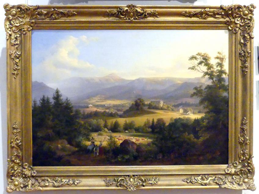 Wilhelm Brücke: Blick auf Arnsdorf und Schneekoppe, 1844