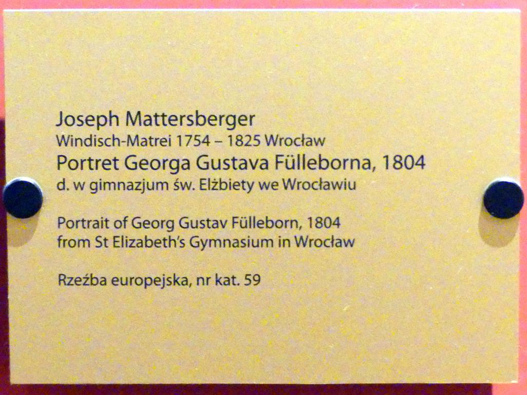 Joseph Mattersberger: Porträt des Georg Gustav Fülleborn (1769-1803), deutscher Schriftsteller, 1804, Bild 2/2