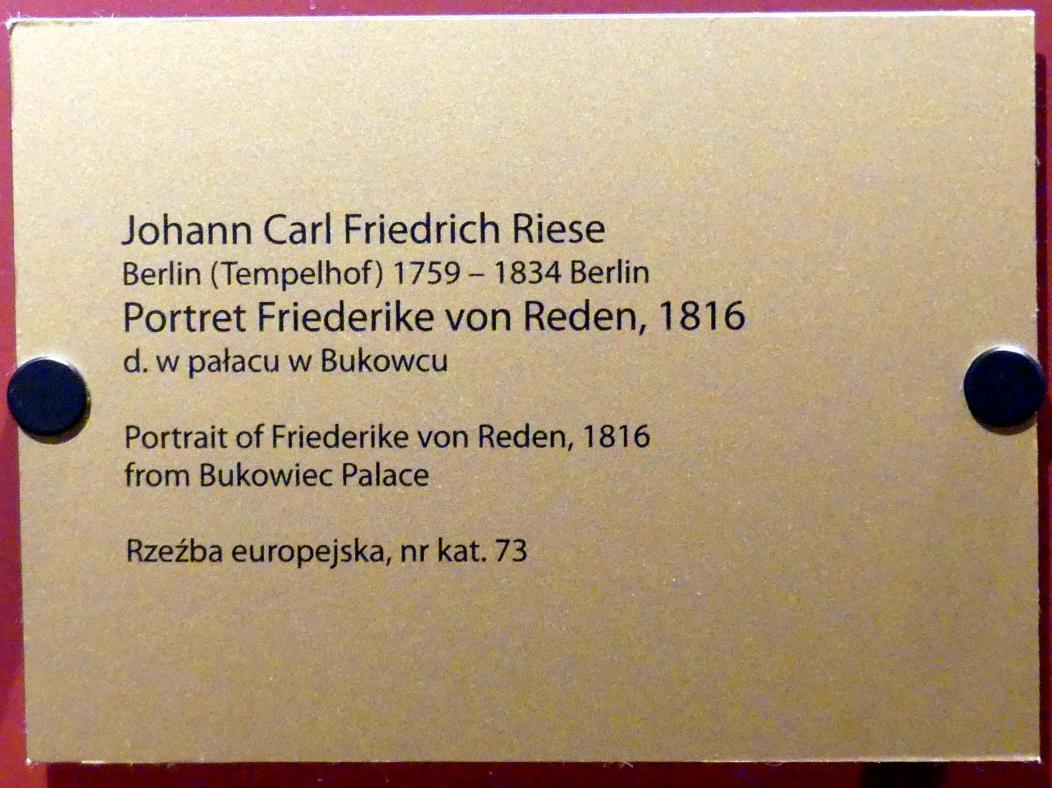 Johann Karl Friedrich Riese: Porträt der Friederike von Reden (1774-1854), Gattin des preußischen Ministers Friedrich Wilhelm Graf von Reden, 1816, Bild 2/2