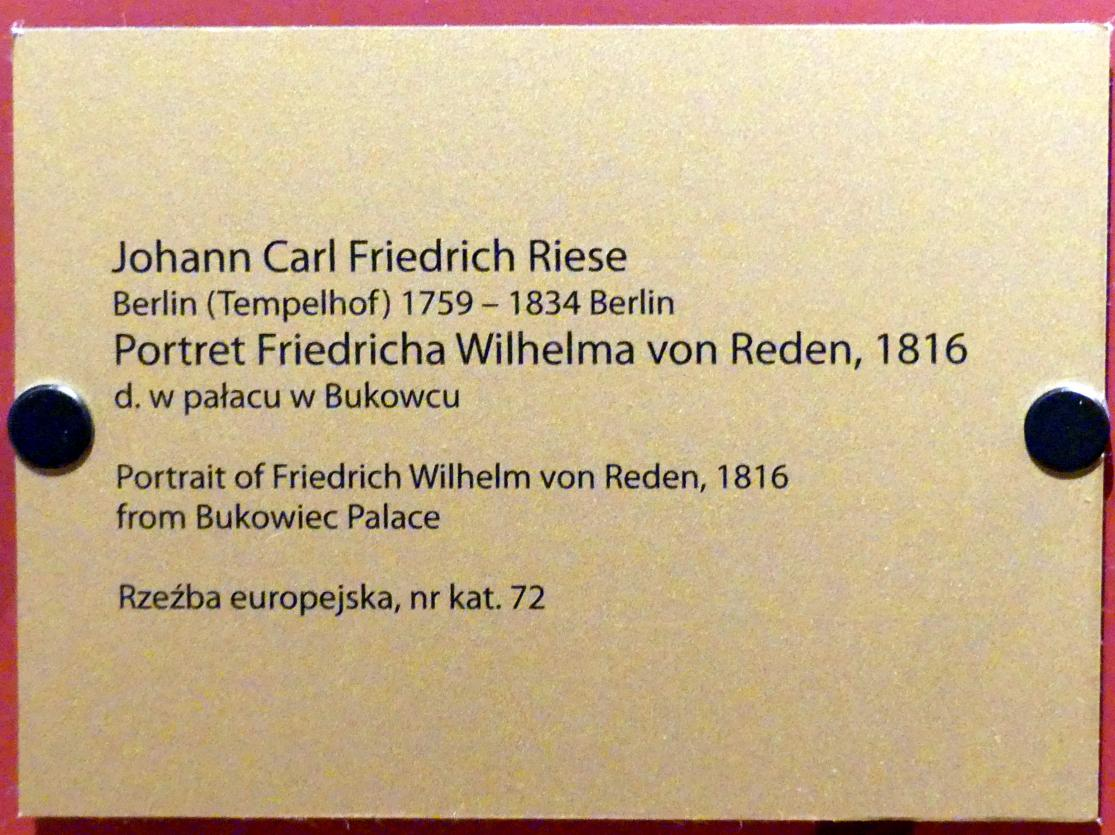 Johann Karl Friedrich Riese: Porträt des Friedrich Wilhelm Graf von Reden (1752-1815), schlesischer Berghauptmann, 1816, Bild 2/2