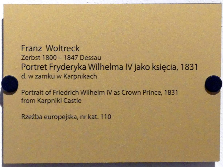 Franz Woltreck: Porträt des Friedrich Wilhelm IV. (1795-1861), König von Preußen.(1840-1861), als Kronprinz, 1831, Bild 2/2