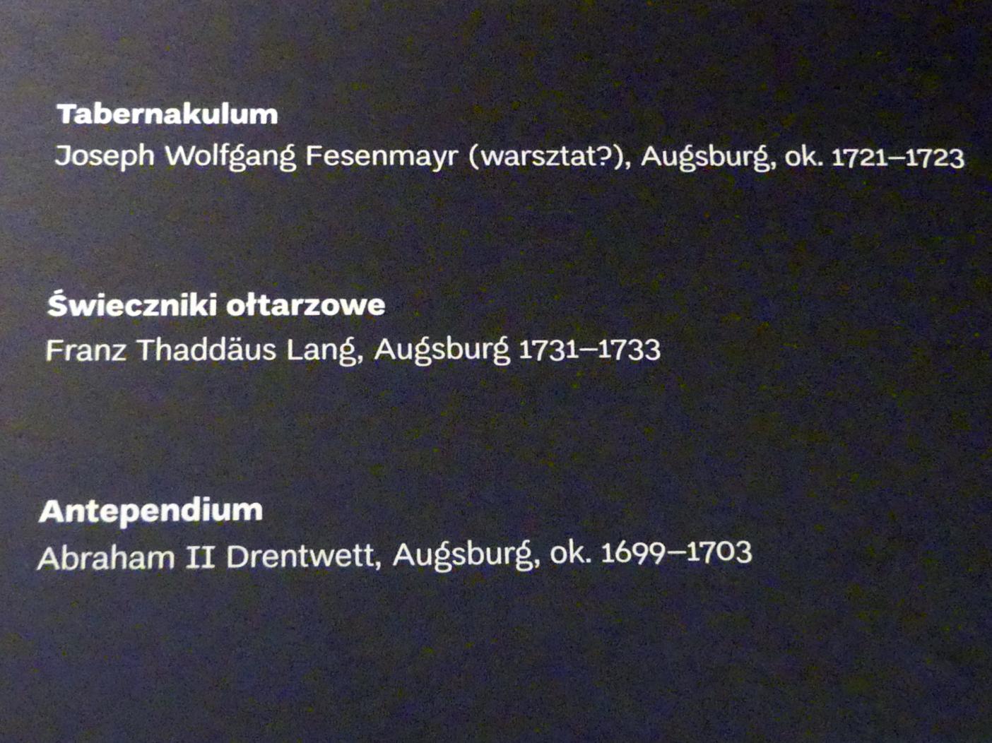 Abraham II. Drentwett: Antependium, 1699 - 1703
