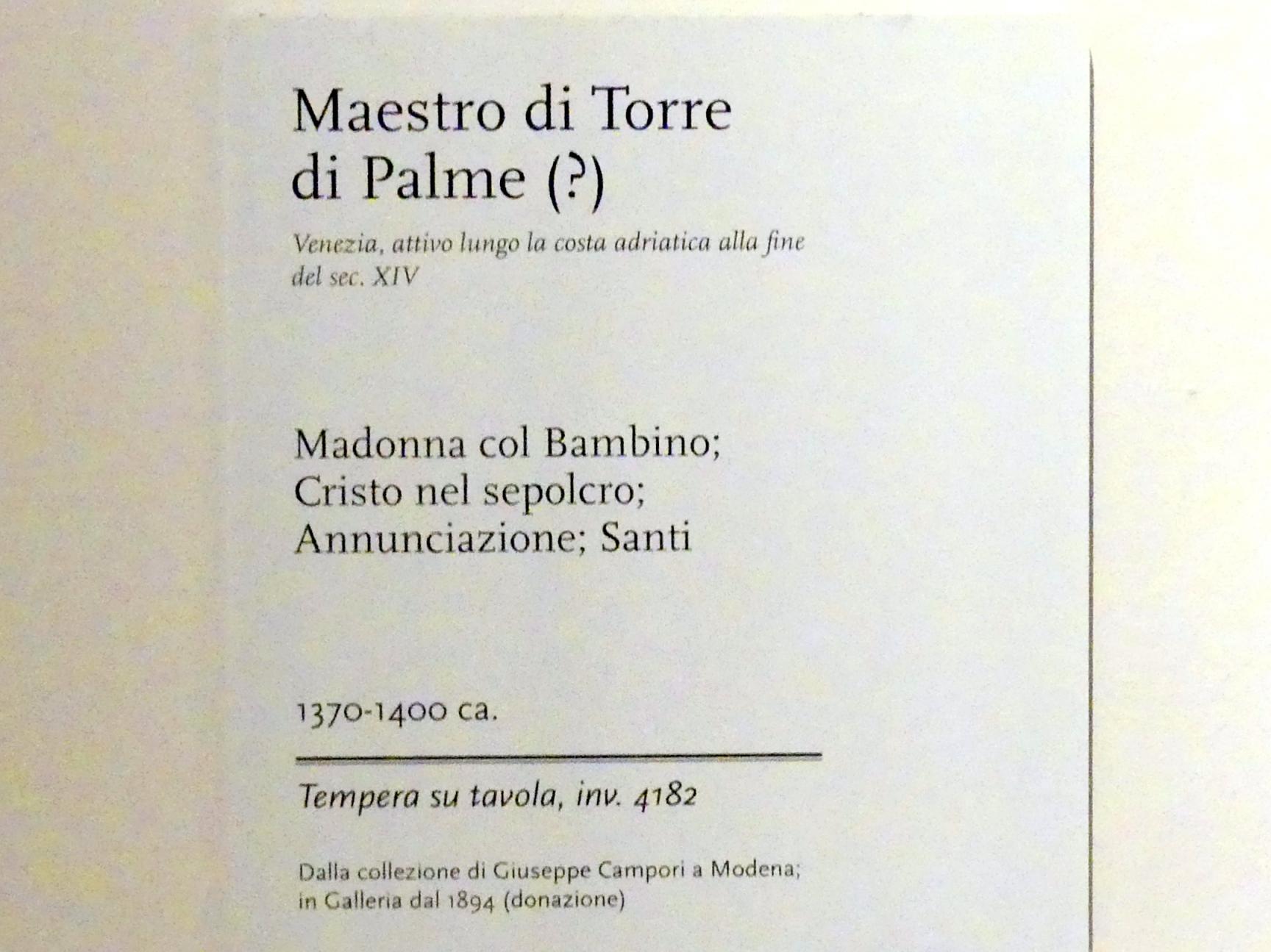 Meister des Torre di Palme: Triptychon Maria mit Kind, Christus im Grab, Verkündigung, Heilige, Letztes Viertel 14. Jhd.
