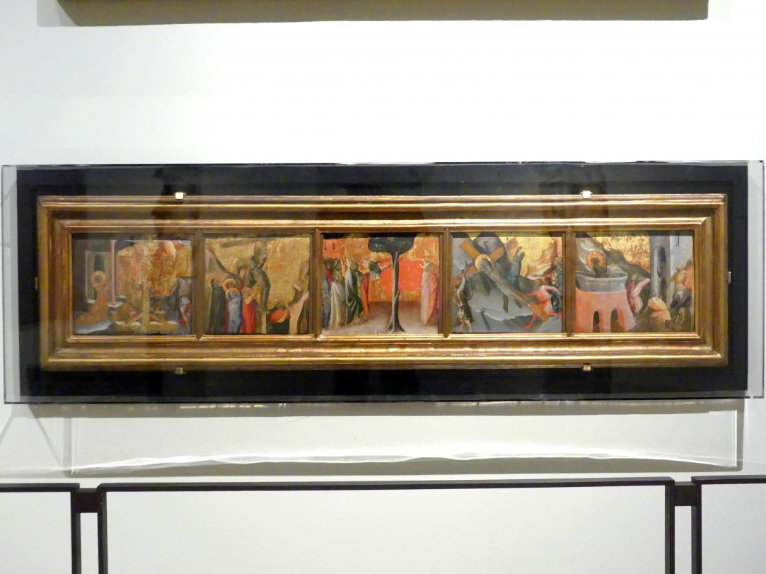 Arcangelo di Cola: Martyrium der Hl. Katharina, Kreuzabnahme, Grablegung des hl. Zenobius, Martyrium des hl. Andreas, Martyrium des Evangelisten JohannesJohannes, Um 1430 - 1435