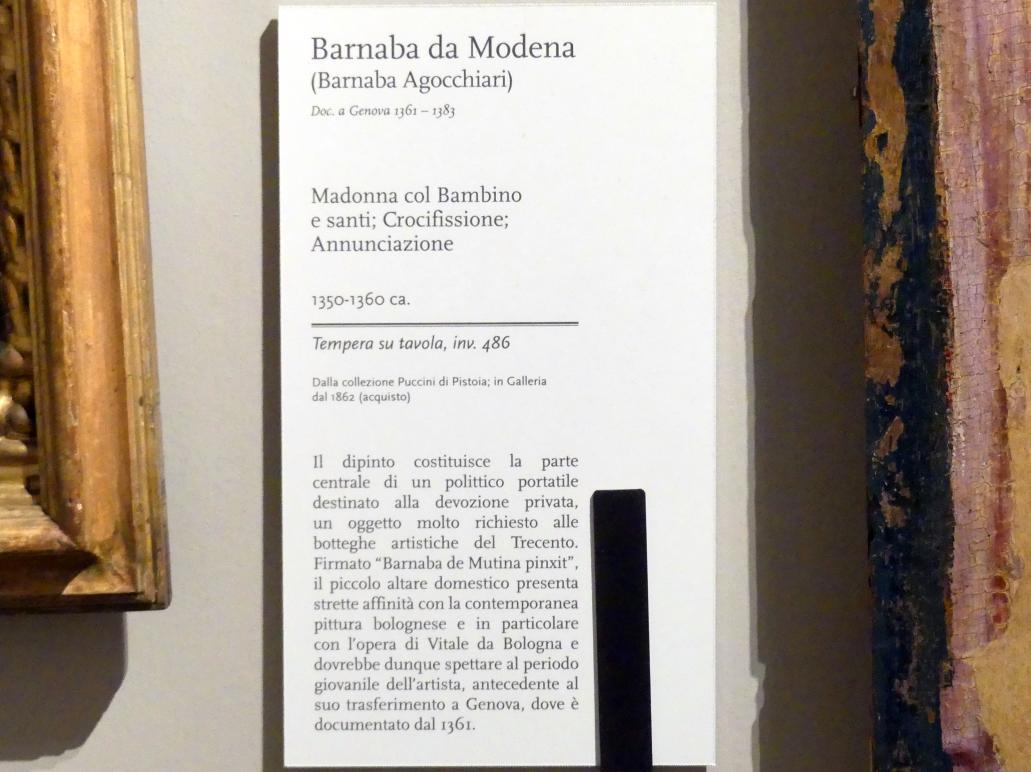 Barnaba da Modena (Barnaba Agocchiari): Maria mit Kind und Heiligen, Kreuzigung, Verkündigung, um 1350 - 1360, Bild 2/2