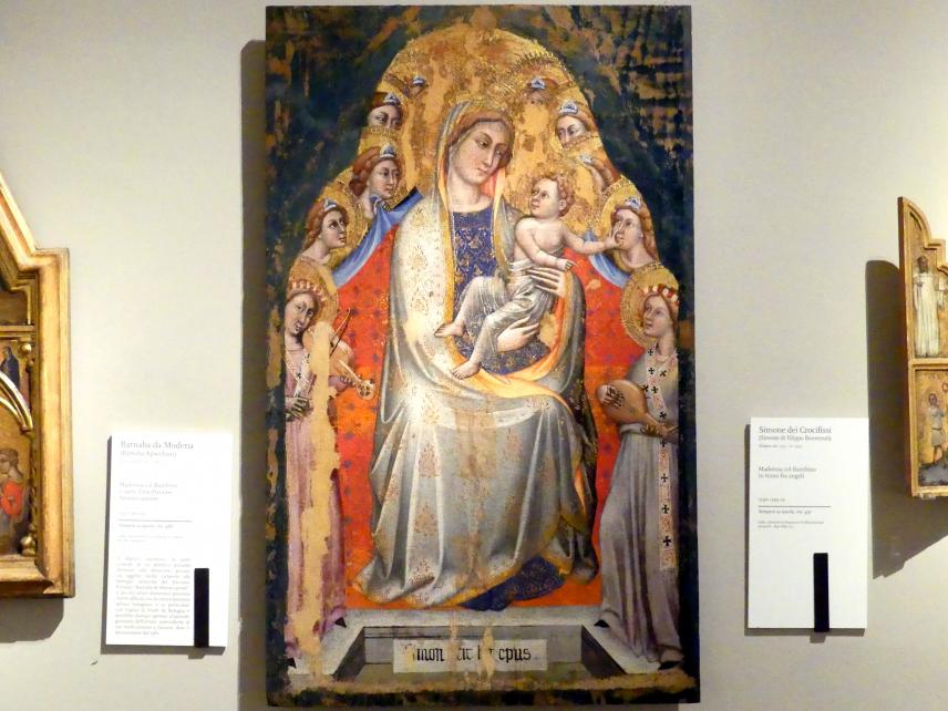 Simone dei Crocifissi (Simone di Filippo Benvenuti): Maria mit Kind thront unter Engeln, Ende 14. Jhd.