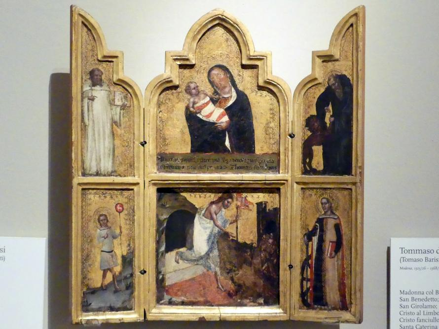 Tommaso da Modena (Tommaso Barisini): Maria mit Kind, hl. Benedikt, hl. Hieronymus, Christus in der Unterwelt, Christusknabe, hl. Katharina, Mitte 14. Jhd.