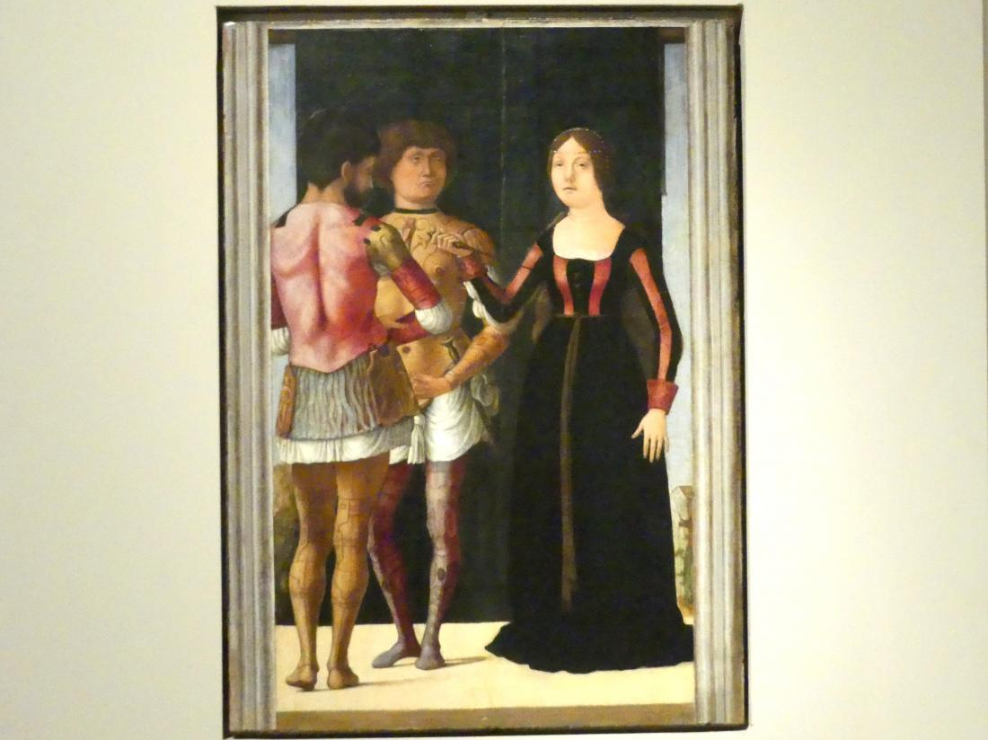 Ercole de' Roberti: Lucretia, Brutus und Collatinus, um 1490