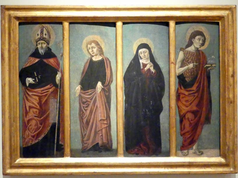 Angelo degli Erri (Werkstatt): Johannes der Täufer, Schmerzhafte Muttergottes, Evangelist Johannes, hl. Benedikt, um 1470 - 1490
