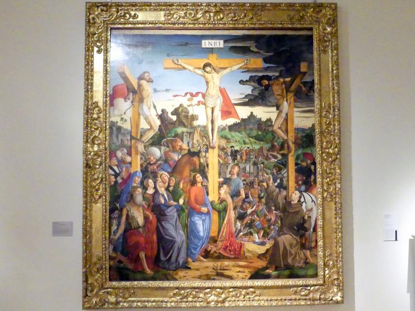 Francesco Bianchi Ferrari: Kreuzigung mit den Heiligen Hieronymus und Franziskus, um 1490 - 1495