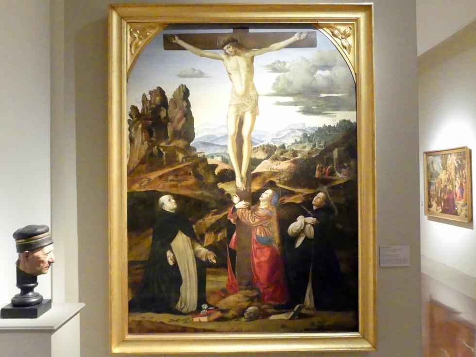Francesco Bianchi Ferrari: Kreuzigung mit den hll. Maria Magdalena, Dominikus und Petrus Martyr, um 1500