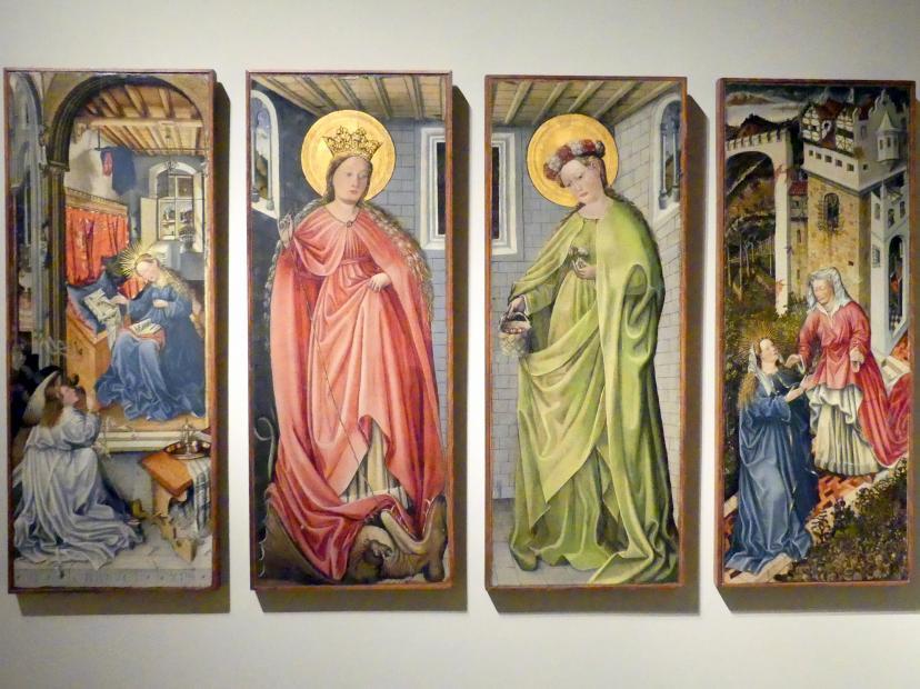Fra Paolo da Pistoia (Paolo di Bernardino del Signoraccio): Verkündigung, Hl. Margarete, Hl. Dorothea, Heimsuchung, Um 1450