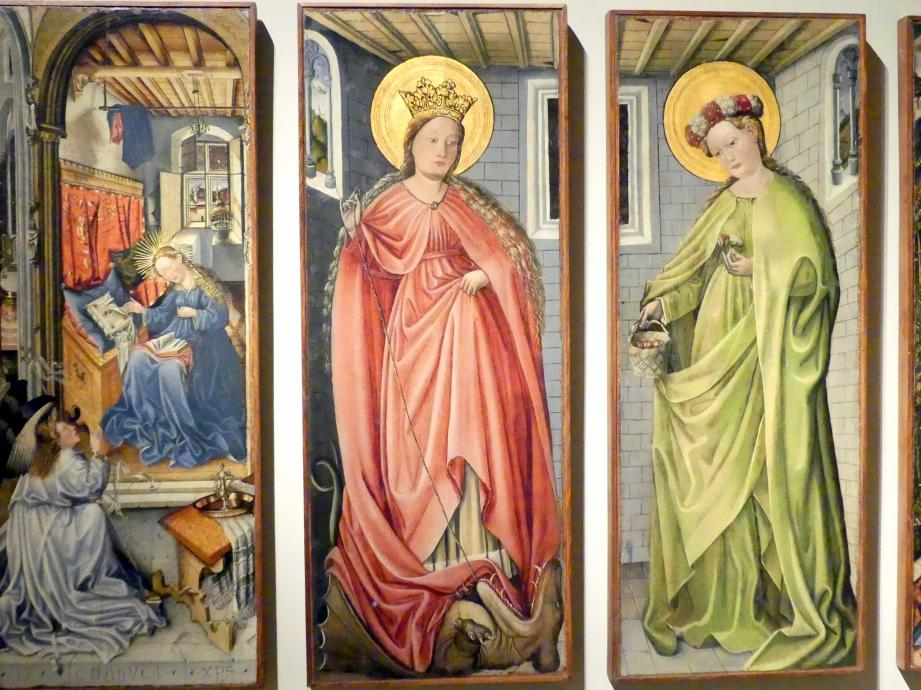 Fra Paolo da Pistoia (Paolo di Bernardino del Signoraccio): Verkündigung, Hl. Margarete, Hl. Dorothea, Heimsuchung, um 1450, Bild 3/6