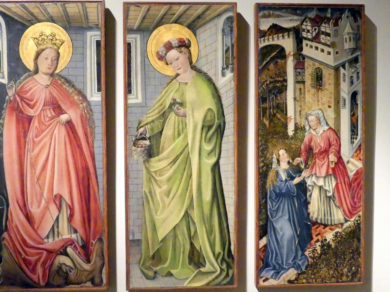 Fra Paolo da Pistoia (Paolo di Bernardino del Signoraccio): Verkündigung, Hl. Margarete, Hl. Dorothea, Heimsuchung, um 1450, Bild 4/6