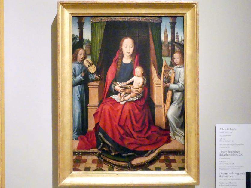 Meister der Lucialegende: Maria mit Kind und zwei musizierenden Engeln, um 1485