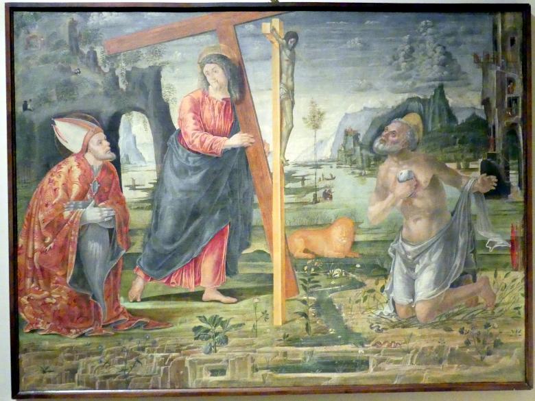 Bernardo Parentino (Bernardo Parenzano): Kreuztragung Christi zwischen den Heiligen Hieronymus und Augustinus, um 1492 - 1496