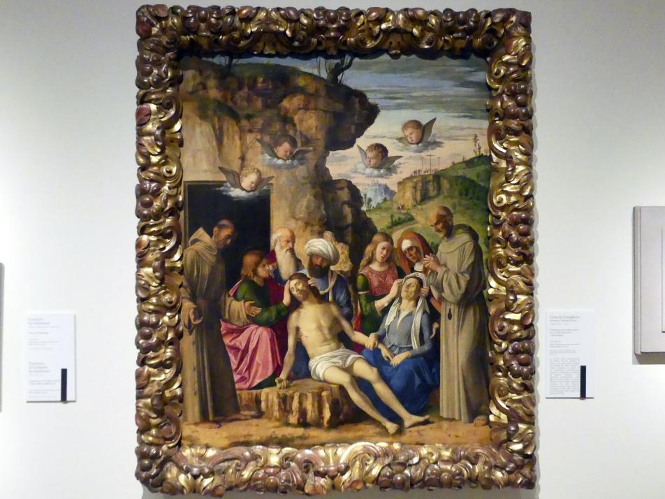 Giovanni Battista Cima (Cima da Conegliano): Beweinung Christi mit den hll. Franziskus und Bernhardin, um 1502 - 1505
