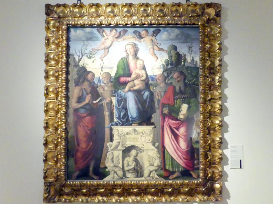 Marco Meloni: Maria mit Kind und den hll. Johannes der Täufer, Bernhardin, Franziskus und Hieronymus, 1504