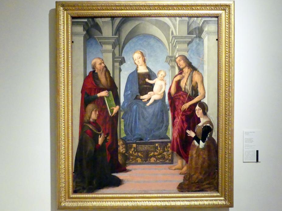 Maestro della Pala Rangoni: Thronende Madonna zwischen den hll. Hieronymus, Johannes der Täufer und den Stiftern Nicolò Rangoni und Bianci Bentivoglio, um 1490 - 1500