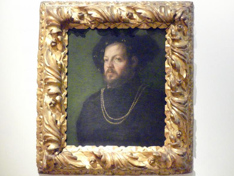 Girolamo da Carpi: Porträt eines Herrn mit Barett (Ercole II. d'Este?), Um 1535 - 1540
