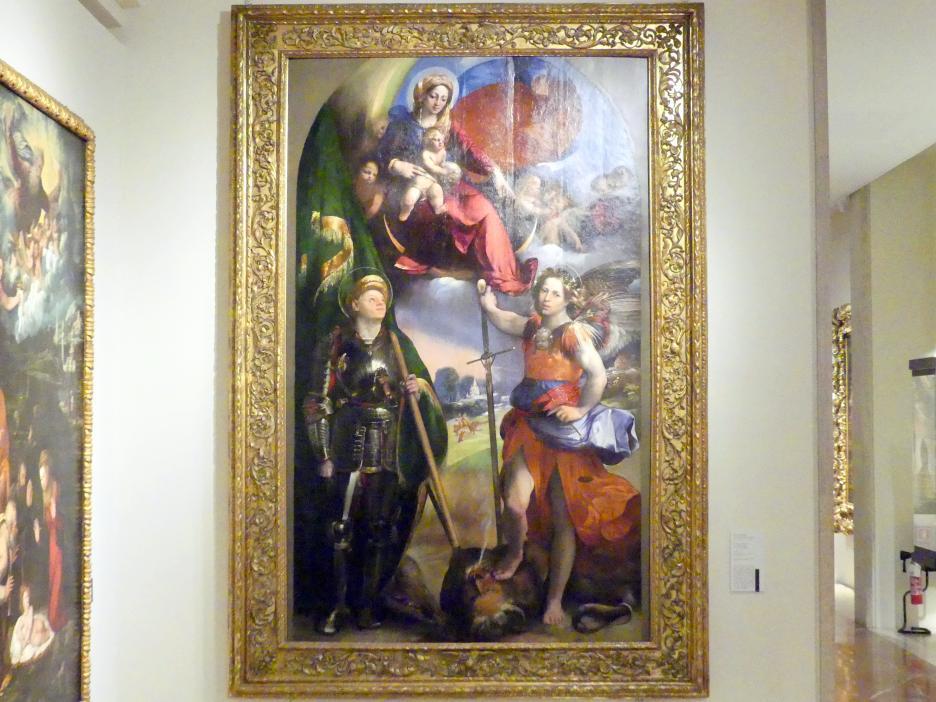 Giovanni Luteri (Dosso Dossi): Maria mit Kind zwischen den hll. Georg und Erzengel Michael, 1518 - 1519