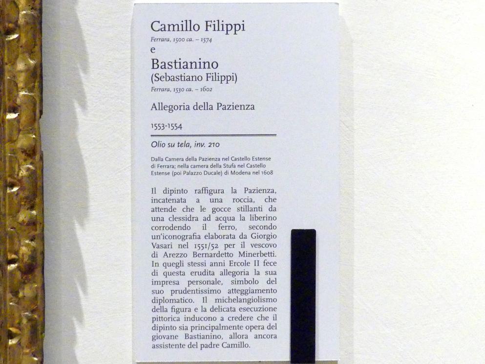 Camillo Filippi: Allegorie der Geduld, 1553 - 1554, Bild 2/2