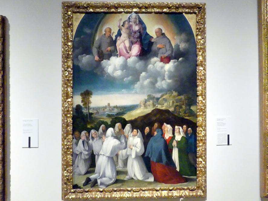 Giovanni Luteri (Dosso Dossi) (Werkstatt): Erscheinung Mariens mit Kind zwischen den hll. Franziskus und Bernhardin von Siena an die Bruderschaft von Santa Maria della Neve, Um 1530 - 1540