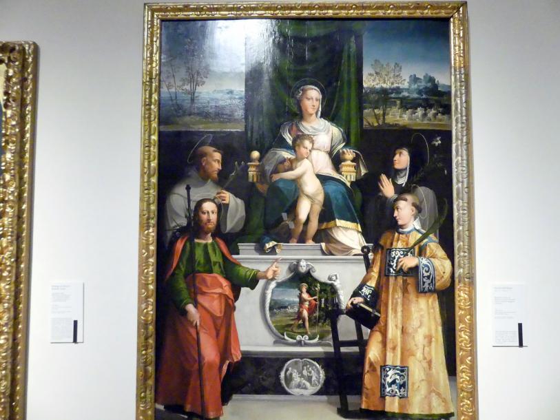 Nicolò dell'Abate: Thronende Madonna mit den hll. Franziskus, Klara, Jakobus und Laurentius, Um 1540 - 1541