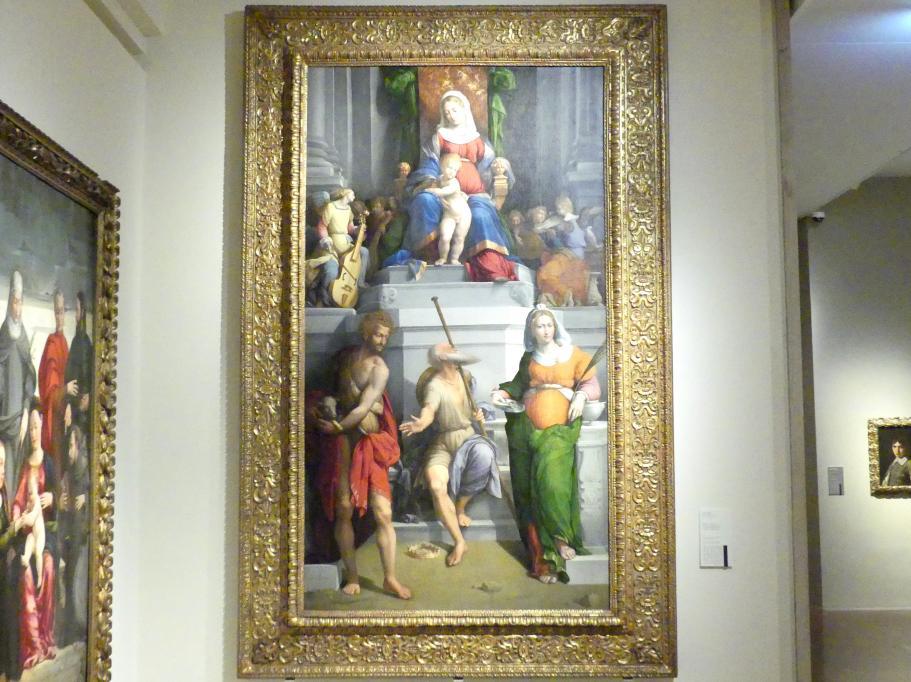 Benvenuto Tisi Garofalo: Thronende Madonna, musizierende Engel und die hll. Johannes der Täufer, Contardo d'Este und Lucia, 1533