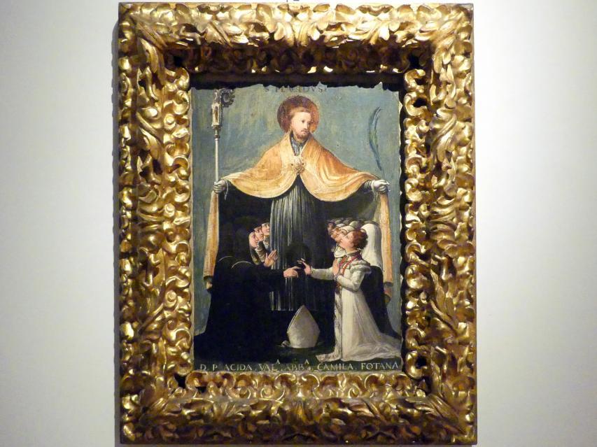 Niccolò dell'Arca: San Placido heißt die Benediktinerinnen von Sant'Eufemia willkommen, Um 1529 - 1536