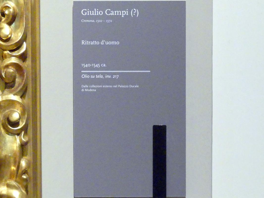 Giulio Campi: Bildnis eines Mannes, um 1540 - 1545, Bild 2/2