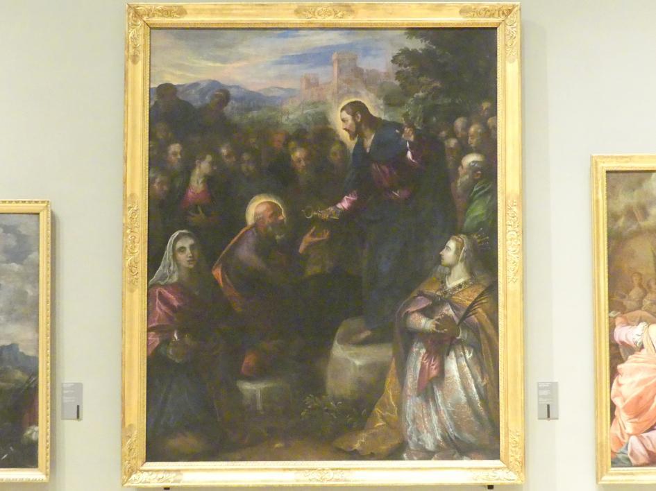 Domenico Robusti (Domenico Tintoretto): Christus übergibt Petrus die Schlüssel in Gegenwart der Apostel und der Heiligen Giacinta und Giustina, 1597 - 1601