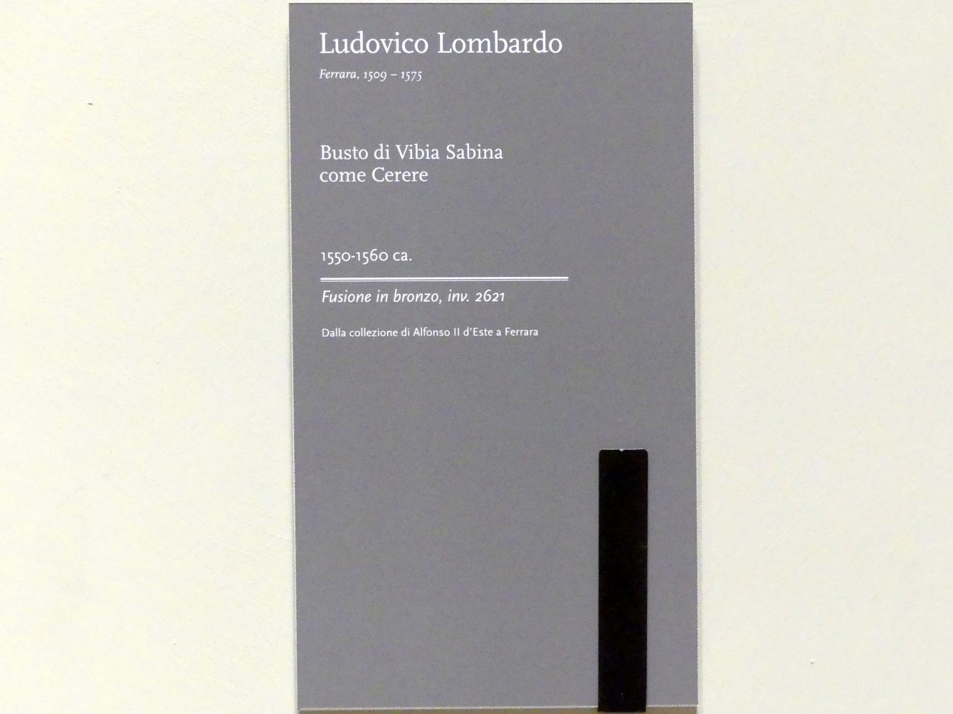 Ludovico Lombardo: Büste der Vibia Sabina come Cerere, Um 1550 - 1560